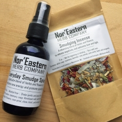 Nor'Eastern Herb Company, LLC - 2oz. bottle of Everyday Smudge Spray and 2oz. package of Smudging Incense.